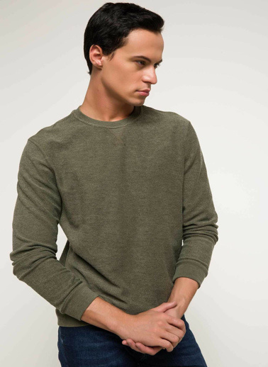 DeFacto Slim Fit Baskılı Sweatshirt Haki